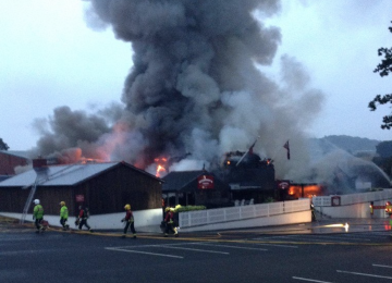 Firefighters tackle severe blaze at Hickory's Smokehouse.