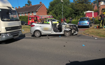 Taxi driver extricated after a collision with a lorry in Harborne.