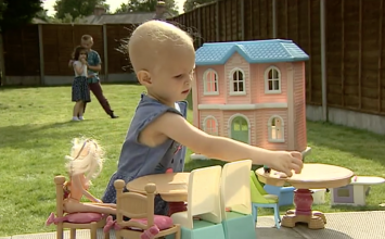 Girl comes home from cancer treatment to find house transformed.