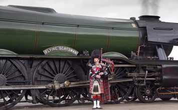 Flying Scotsman steams into Tyseley as part of Birmingham Heritage Week.