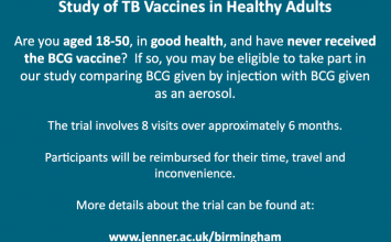 Healthy volunteers wanted for a TB vaccine trial.
