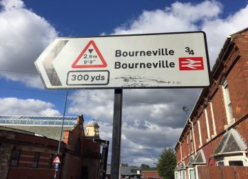 Highways company apologises for misspelling Bournville on road signs.