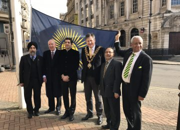 The Lord Mayor of Birmingham raises the flag for Commonwealth Day