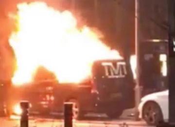 Floyd Mayweather's van set on fire outside Park Regis Hotel.
