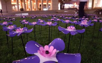 St Mary's Hospice launch beautiful installation of forget-me-not flowers in the heart of Brindleyplace.