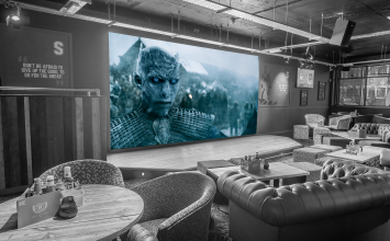Game of Thrones marathrone on the enormous 5M screen at Shooters on Broad Street