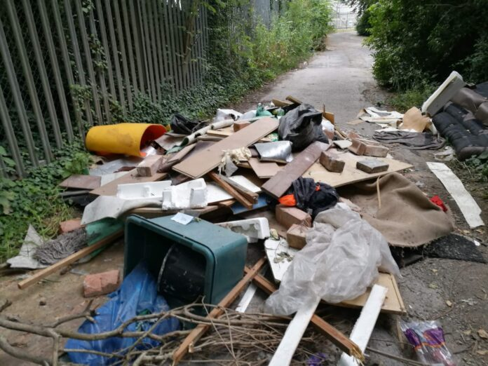Fly-tipping at Lifford Reservoir in Kings Norton