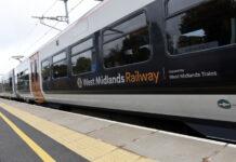 West Midlands Railway train at a station