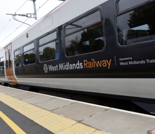 West Midlands Railway train at a station