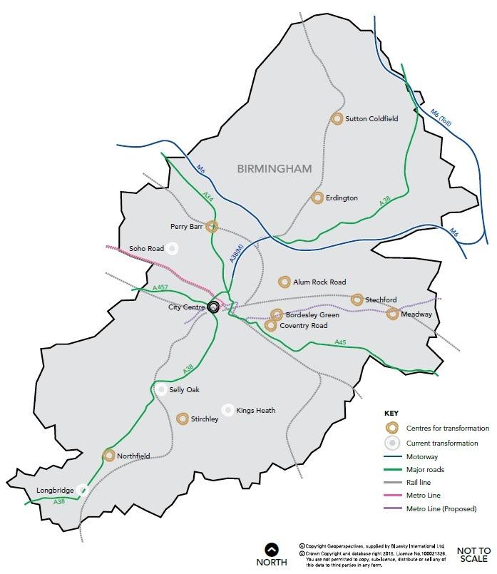 Map of the Birmingham Urban Centres Framework