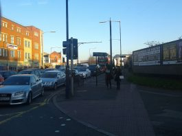 Traffic at a standstill in Digbeth during rush hour