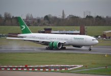 Turkmenistan Airlines Boeing 777 at Birmingham Airport (BHX)