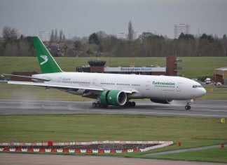 Turkmenistan Airlines Boeing 777 at Birmingham Airport (BHX)