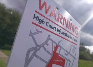 High Court Injunction sign at Hazelwell Park, Stirchley preventing travellers from using the land
