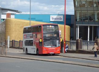 National Express West Midlands 45 Bus in Longbridge near Bournville College